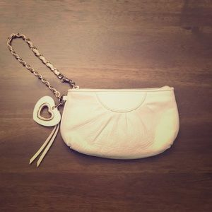 Bebe Heart Accent Wristlet White Leather